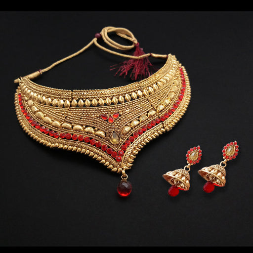 Shreeji Creation Red Stone Choker Gold Plated Necklace Set