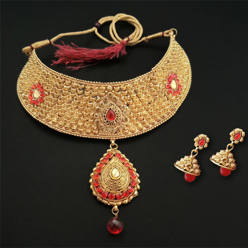 Shreeji Creation Red Stone Gold Plated Choker Necklace Set