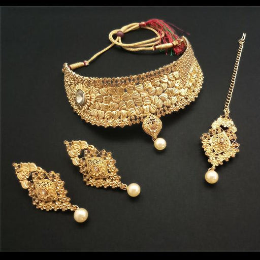 Shreeji Creation Gold Plated Brown Stone Choker Necklace Set - FBD0005