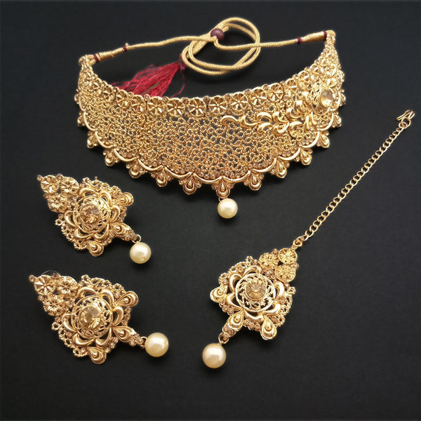 Shreeji Creation Brown Stone Gold Plated Choker Necklace Set