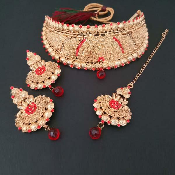 Shreeji Creation Copper Necklace Set With Maang Tikka - FBD0007A