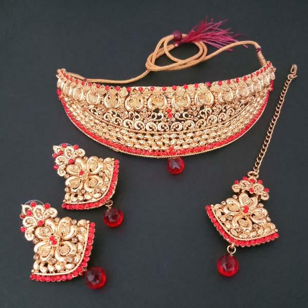 Shreeji Creation Copper Necklace Set With Maang Tikka - FBD0008B