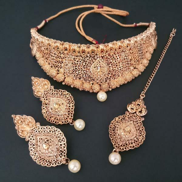 Shreeji Creation Copper Necklace Set With Maang Tikka - FBD0009A