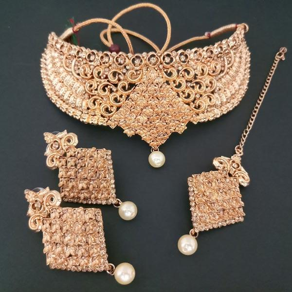 Shreeji Creation Copper Necklace Set With Maang Tikka - FBD0010A