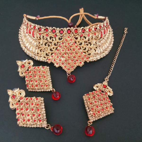 Shreeji Creation Copper Necklace Set With Maang Tikka