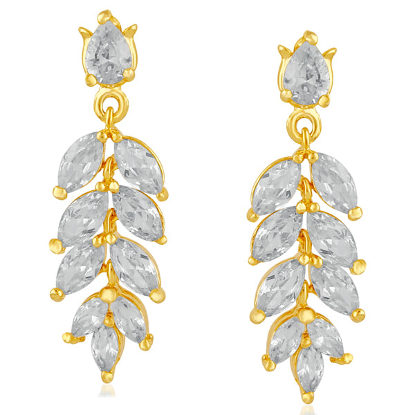 Suhagan Gold Plated AD Stone Dangler Earrings