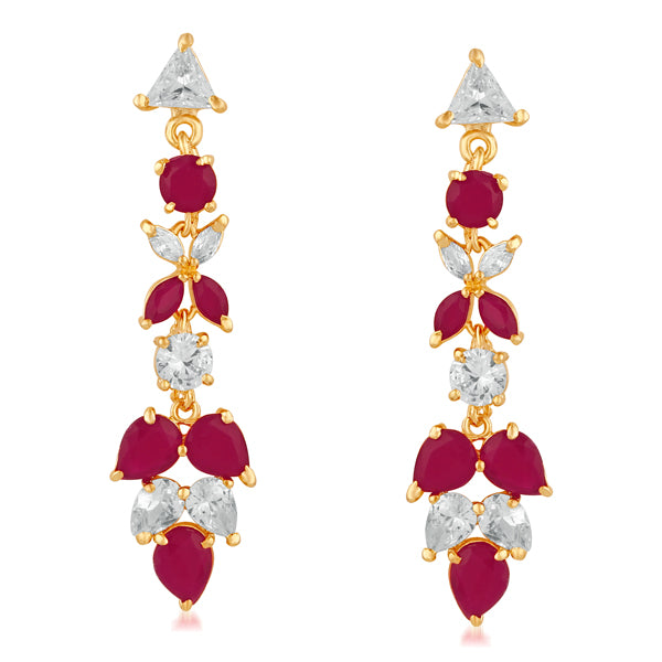 Suhagan Ruby AD Stone Gold Plated Dangler Earrings