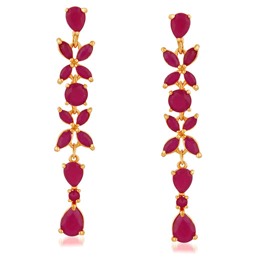 Suhagan Ruby Stone Gold Plated Dangler Earrings