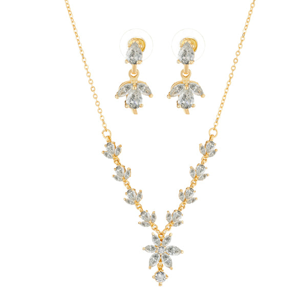 Suhagan Gold Plated AD Stone Necklace Set