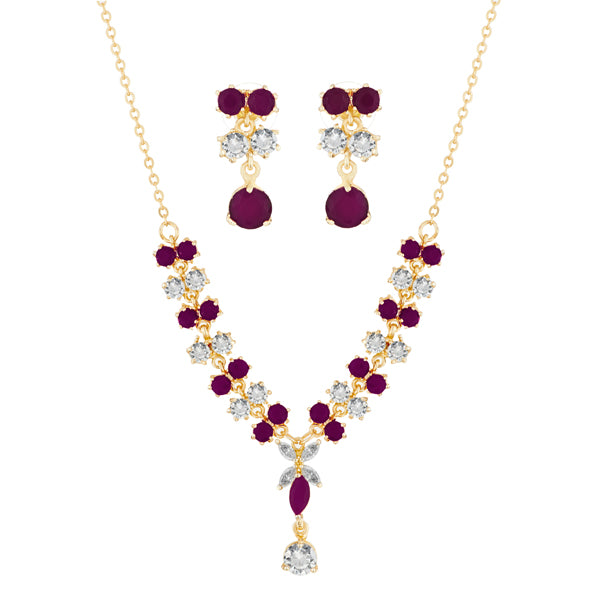 Suhagan Ruby And AD Stone Gold Plated Necklace Set