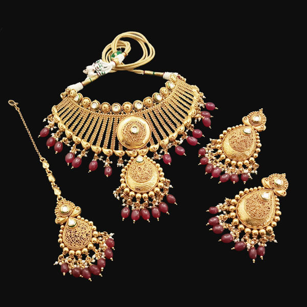 Bhagwati Arts AD Stone Copper Necklace Set With Maang Tikka