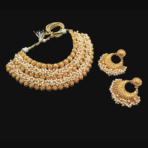 Bhagwati Arts Pearl Choker Copper Necklace Set