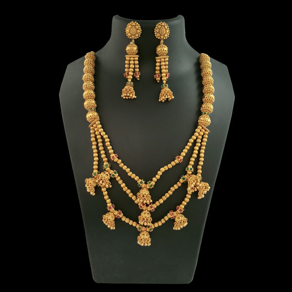 Bhagwati Arts AD Stone Long Copper Necklace Set