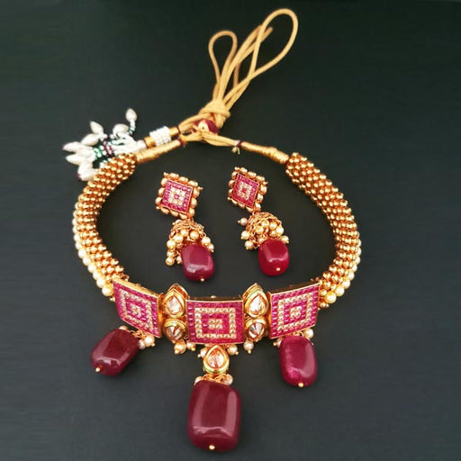Bhagwati Arts AD Stone Choker Copper Necklace Set