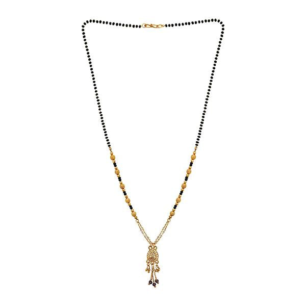 Kriaa White Austrian Stone And Black Beads Gold Plated Mangalsutra - FBG0052A