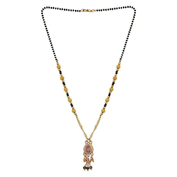 Kriaa Pink And White Austrian Stone And Black Beads Gold Plated Mangalsutra - FBG0052C