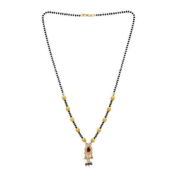 Kriaa Red And White Austrian Stone And Black Beads Gold Plated Mangalsutra - FBG0053A