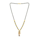 Kriaa White Austrian Stone And Black Beads Gold Plated Mangalsutra - FBG0053B