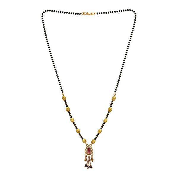 Kriaa Pink And White Austrian Stone And Black Beads Gold Plated Mangalsutra - FBG0053C
