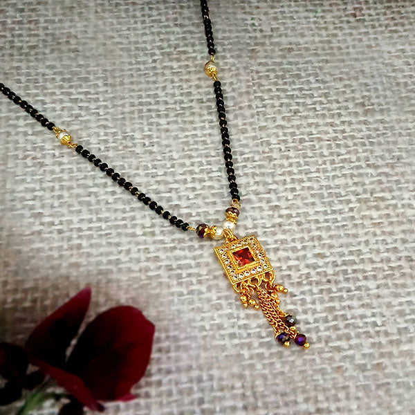 Kriaa Maroon And White Austrian Stone And Black Beads Gold Plated Mangalsutra - FBG0058A