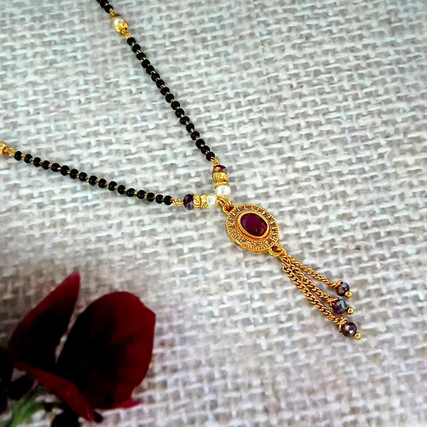 Kriaa Pink And White Austrian Stone And Black Beads Gold Plated Mangalsutra - FBG0059A