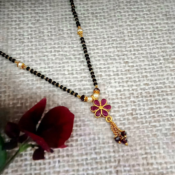Kriaa Red Austrian Stone Gold Plated Black Beads Mangalsutra - FBG0061A
