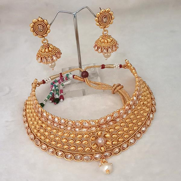Nikita Arts AD Stone Choker Copper Necklace Set With Maang Tikka