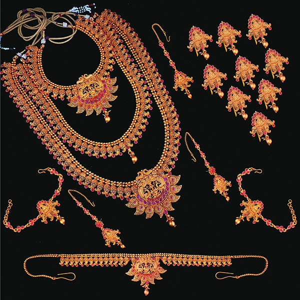 Shubham Pota Stone Copper Bridal Jewellery Set