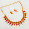 Shubham Maroon Pota Stone Copper Necklace Set