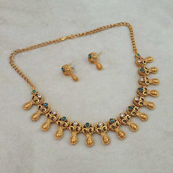 Shubham Green Pota Stone Copper Necklace Set