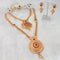 Shubham Arts Pink Pota Stone Double Copper Necklace Set