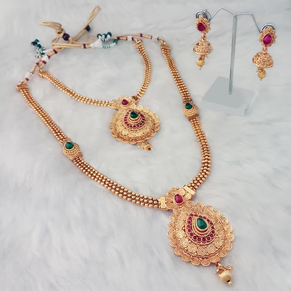 Shubham Arts Purple Stone Copper Double Necklace Set