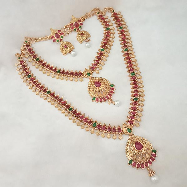 Shubham Pota Stone Double Copper Necklace Set