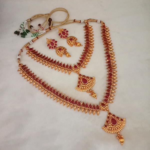 Shubham Maroon Pota Stone Double Copper Necklace Set