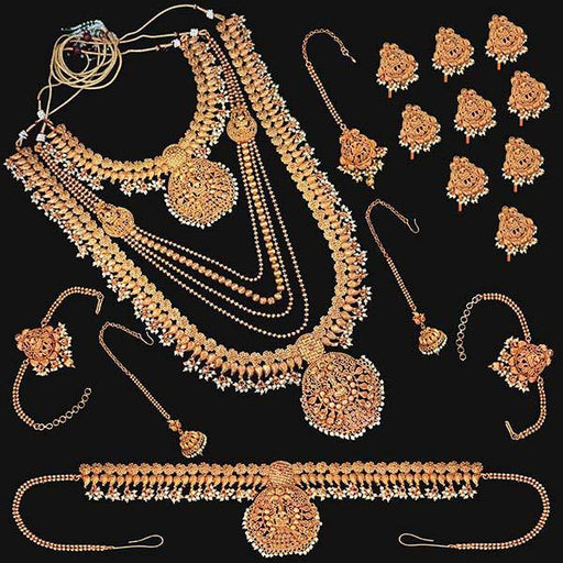 Shubham Pota Stone Copper Bridal Jewellery Set - FBK0051