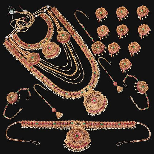 Shubham Pota Stone Copper Bridal Jewellery Set - FBK0052