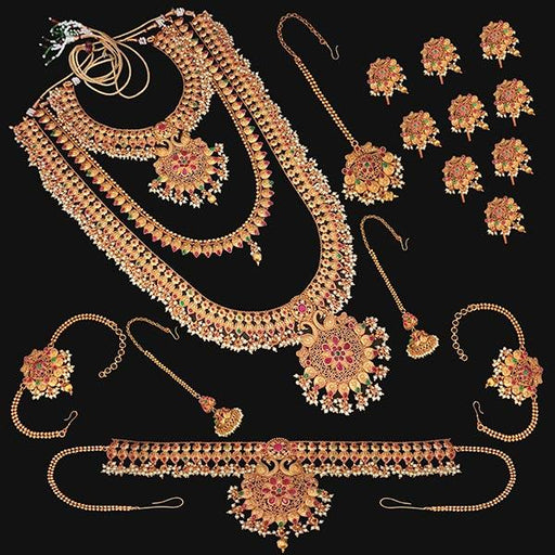 Shubham Pota Stone Copper Bridal Jewellery Set - FBK0053