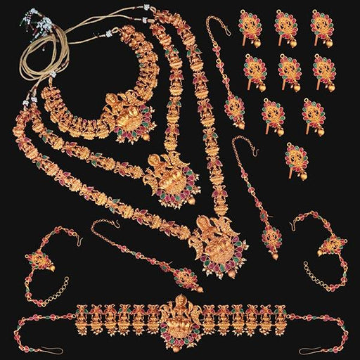 Shubham Pota Stone Copper Bridal Jewellery Set - FBK0054B