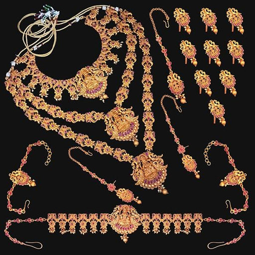 Shubham Pota Stone Copper Bridal Jewellery Set - FBK0055A