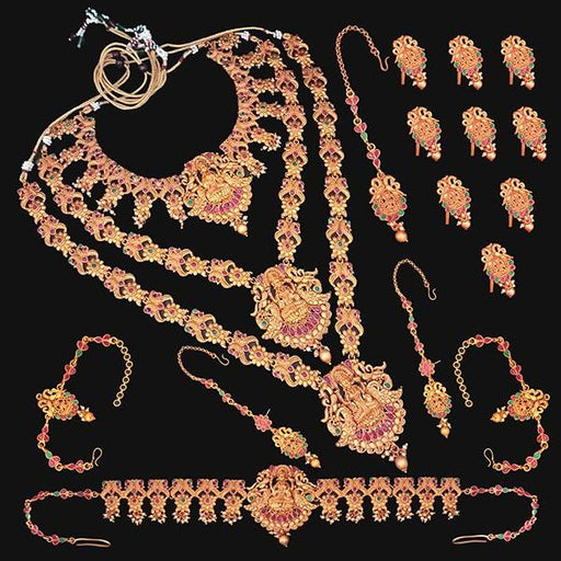 Shubham Pota Stone Copper Bridal Jewellery Set - FBK0055B