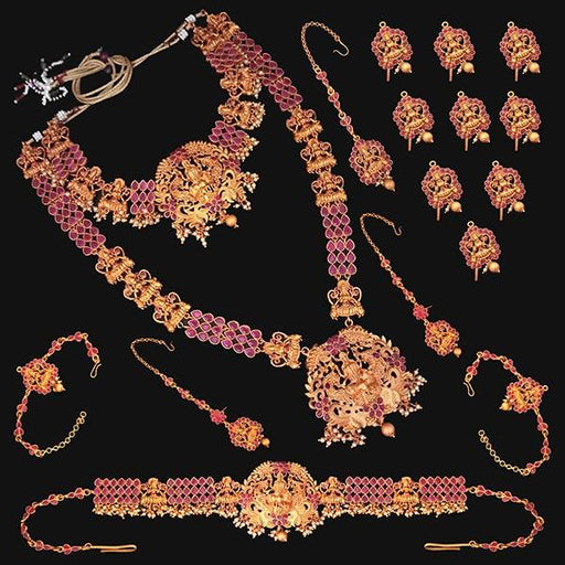 Shubham Pota Stone Copper Bridal Jewellery Set - FBK0056A