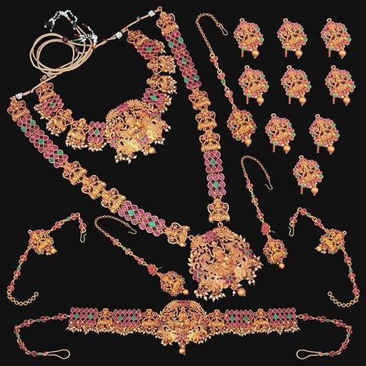 Shubham Pota Stone Copper Bridal Jewellery Set - FBK0056B
