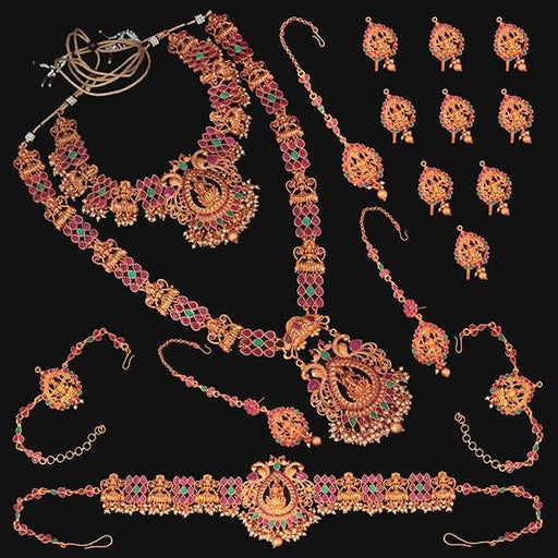 Shubham Pota Stone Copper Bridal Jewellery Set - FBK0057B