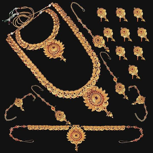 Shubham Pota Stone Copper Bridal Jewellery Set - FBK0058A