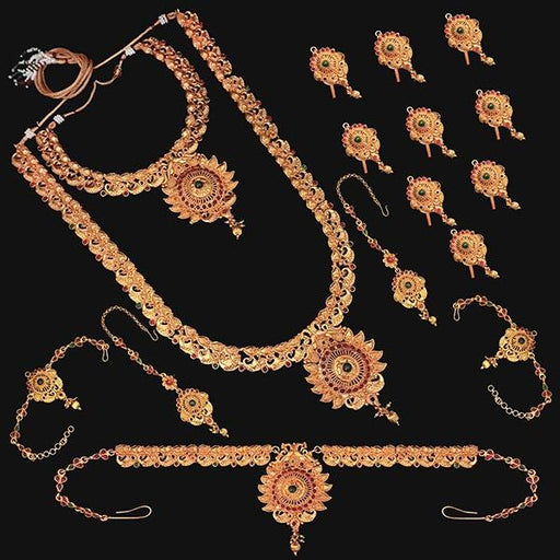 Shubham Pota Stone Copper Bridal Jewellery Set - FBK0058B