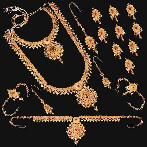 Shubham Pota Stone Copper Bridal Jewellery Set - FBK0059A