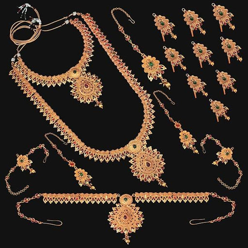 Shubham Pota Stone Copper Bridal Jewellery Set - FBK0059B