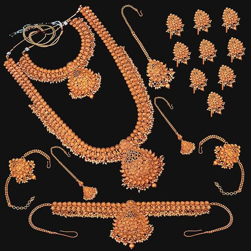 Shubham Pota Stone Copper Bridal Jewellery Set - FBK0060