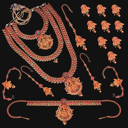 Shubham Pota Stone Copper Bridal Jewellery Set - FBK0061