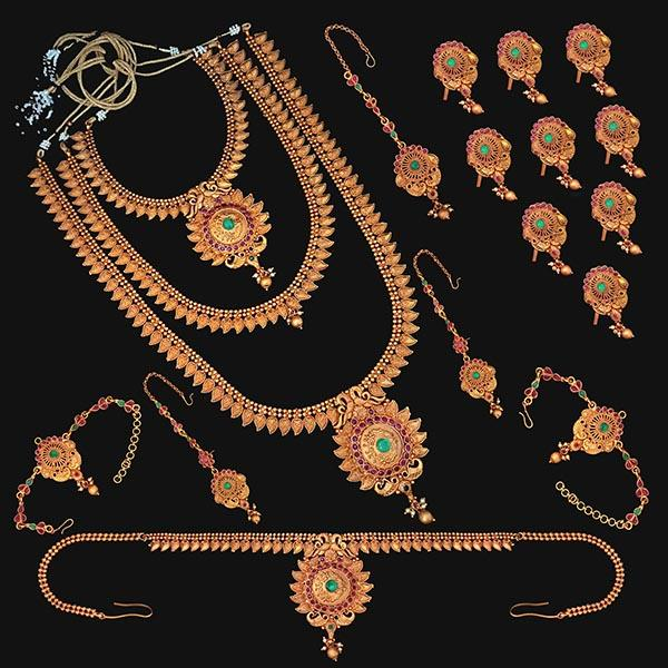 Shubham Pota Stone Copper Bridal Jewellery Set - FBK0062